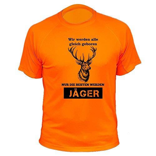 Jäger T Shirt, Hirsche, Vir Werden alle gleich geboren, Jagd Geschenke (20149, Orange, L)