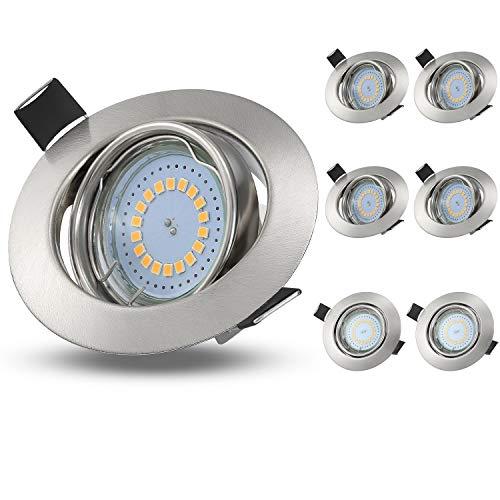 KOHREE 6er LED Einbaustrahler Flach 230V GU10 Schwenkbar LED Einbauleuchte ohne Trafo 5W LED Spots Wasserdicht IP44 Deckenspots Leuchtmittel Warmweiß LED Einbauspots 3000K Deckenstrahler 400LM