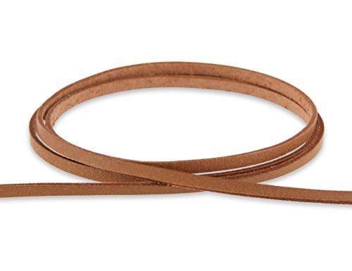 AURORIS - Lederband flach 3x1 mm - 1 m/hellbraun