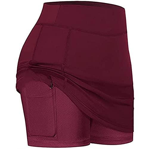 N\P Damen Tennisröcke Run Yoga Innenshorts Elastische Sport Golf Pocket Röcke Gr. 36, wein