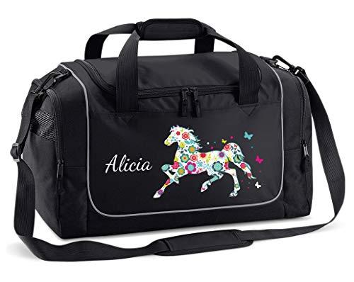 Mein Zwergenland Sporttasche Kinder Praktisch kompakt & robust Sporttasche mit Namen Blumenpferd als Aufdruck Farbe Schwarz 38 L Stauraum die perfekte Sporttasche für Kinder