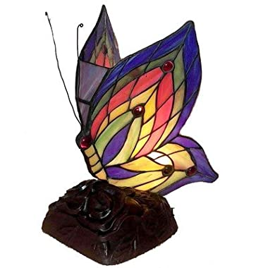 Warehouse of Tiffany's TN09218/D213 Tiffany Style Yellow Butterfly Accent Lamp, 5  x 5  x 10 , Blue