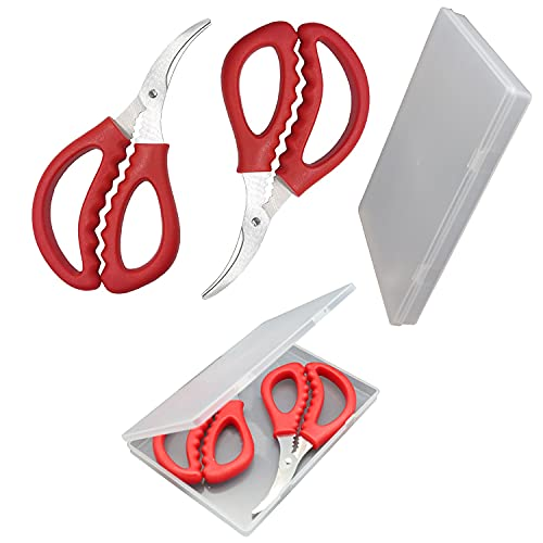 Kitchen Seafood Scissors with Exquisite Storage Box, Seafood Fish Crab Shrimp Lobster Scissors Stainless Steel Shears for Kitchen Tools (2, Red)