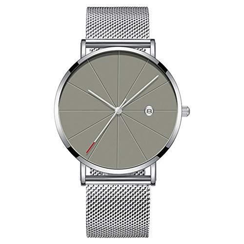 Guapo Reloj brillante para hombres con estilo, reloj de la banda de malla de acero inoxidable de acero inoxidable de acero inoxidable reloj clásico de cuarzo dada reloj de pulsera de lujo casual Reloj