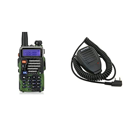 Baofeng UV 5Rplus Dual Band VHF/UHF 2 M/70 Cm De Jamón Walkie Talkie. + Uv-5R Speaker Micrófono para Walkie Talkie Uv-5R, Color Negro