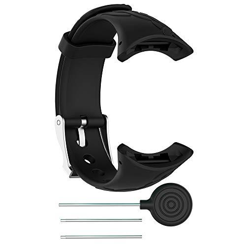 für SUUNTO M1/M2/M4/M5 Watch Armband,Atmungsaktiv Verstellbares Ersatz weiches Silikon Sporty Wrist Strap Band Armbanduhr Uhrenarmband Schlaufe Armbänder mit Operating Tool (Schwarz)