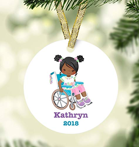 Dkisee Unieke Versieringen Ronde Vormige Keramiek Porselein Ornament Meisje & Rolstoel Kerst Ornament Holiday Decor