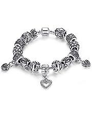 Silver plated bracelet glass Beads Pandora Style Charm Bracelets for women