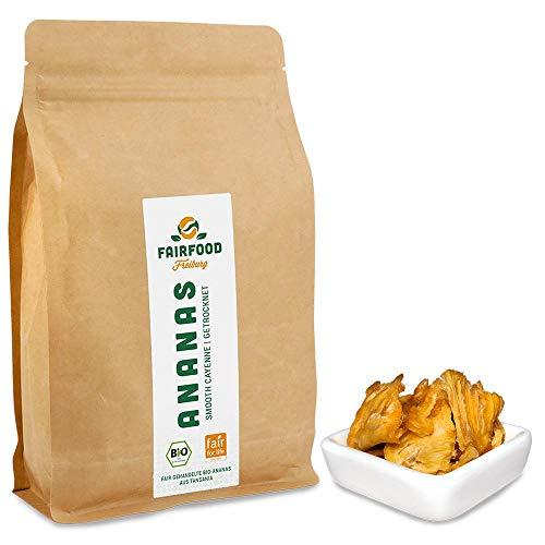 Fair gehandelte Bio Ananas: Smooth Cayenne (500g) | getrocknet in Stücken aus Kooperative in Tansania, ungesüßt, ungeschwefelt