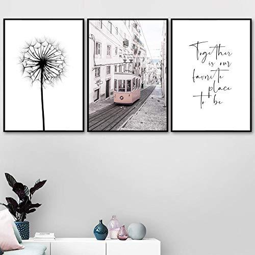 Paardebloem Parijs Bus Liefde Muur Kunst Canvas Schilderij, Posters en Prints Muurfoto's voor Woonkamer Home Decor 50x70cmx3 geen Frame
