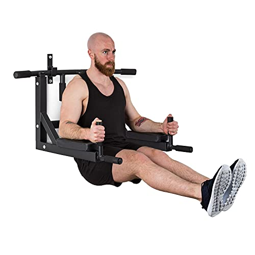 KLAR FIT Bouncer MultiGym paralelas y Flexiones, dipstation, hasta 200 kg, Acero, Negro