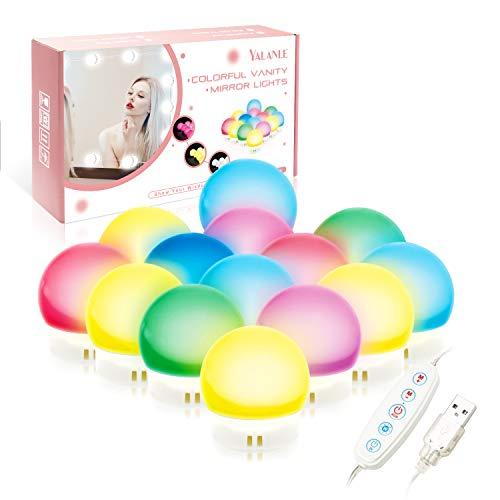 ILEBYGO LED Spiegelleuchte, Hollywood Stil Schminktisch Beleuchtung für Make-up, Farbiges Licht Lampen Spiegel für Led Spiegel, Weißes Licht Schminktisch Lichter für Kosmetikspiegel(14 LED Lampen)