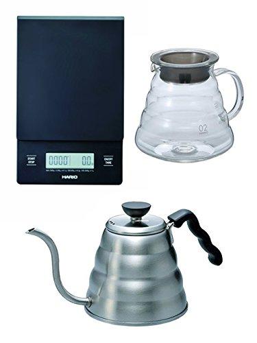 Hario V60 Serie, 3-teiliges Set, Waage, Glaskessel und Wasserkocher aus Metall