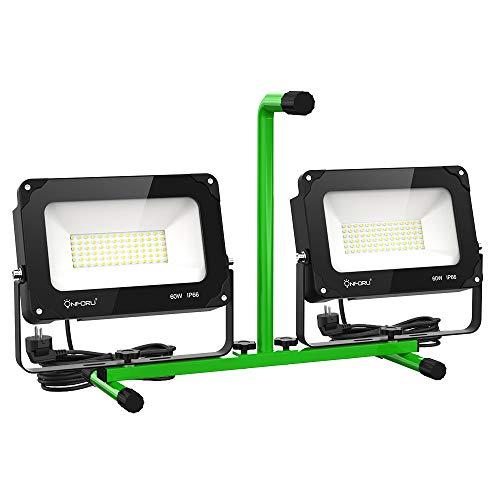 Onforu 120W 13000LM LED Baustrahler mit Ständer, IP66 Wasserdicht Arbeitsscheinwerfer, 5000K Tageslichtweiß Baustellenstrahler, Außen Strahler mit Schalter, Arbeitsleuchte für Baustelle, Werkstatt