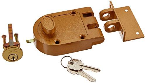 NU-SET 2120-3 Jimmy Proof Style Inter Locking Deadbolt Lock with Single Cylinder, Bronze