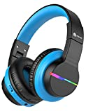 iClever BTH12 Kids Headphones, Colorful LED Lights Kids Wireless Headphones with 74/85/94dB Volume Limited Over Ear, 40H Playtime, Bluetooth 5.0, Built-in Mic for School/Tablet/PC/Airplane, Black&Blue