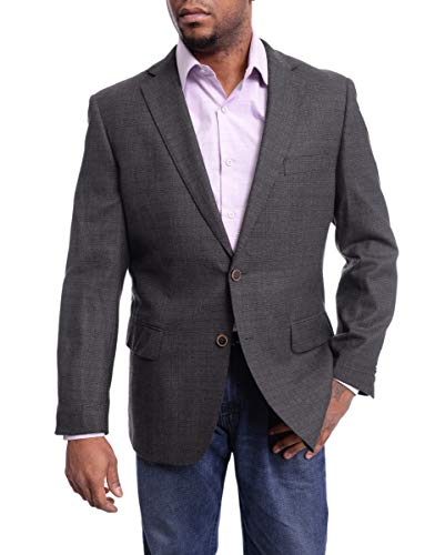 Arthur Black Classic Fit Gray with Brown Plaid Two Button Wool Blazer Sportcoat