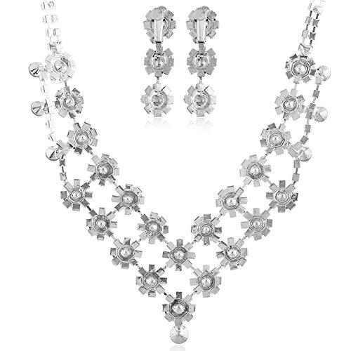 ZGRJIUERYI Damen Halskette,Halskette Modeschmuck, Ohrringe Set Luxus Flow Blume Ring Halskette Set Brautkleid Accessoires, Personalisierte Kleidung Accessoires Schmuck