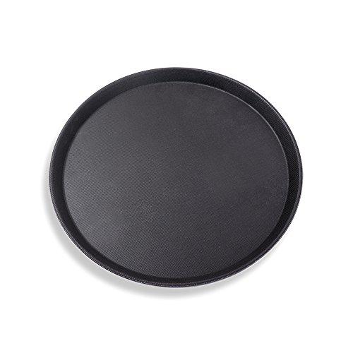 Schramm® Gastro Tablett 35x2cm rund schwarz mit Anti Rutsch Beschichtung hoher Rand Kellnertablett Kellner Gastro Tablett Tabletts Serviertablett Gläsertablett