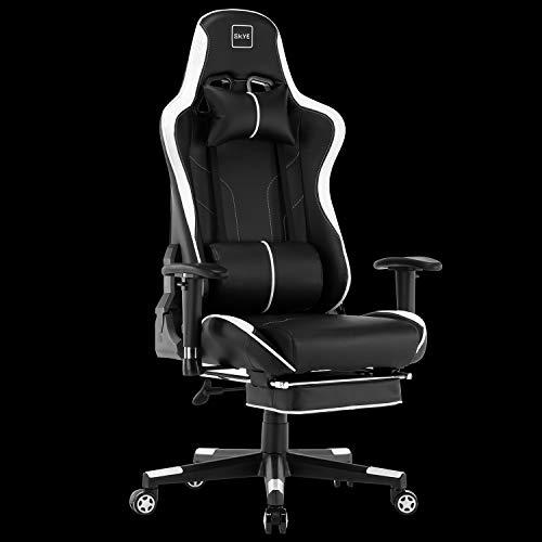 SKYE ゲーミングチェア デスクチェア 椅子 オフィスチェア パソコンチェア ゲーム用チェア(ホワイト)