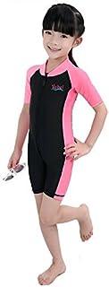 Saymequeen キッズ ウェットスーツ UPF 50 UV 半袖 サーフィン スイムウェア ワンピース