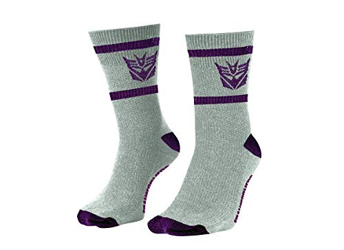 Transformers Decepticons Symbol Grey and Purple 80's Cartoon Officially Licensed Crew Socks