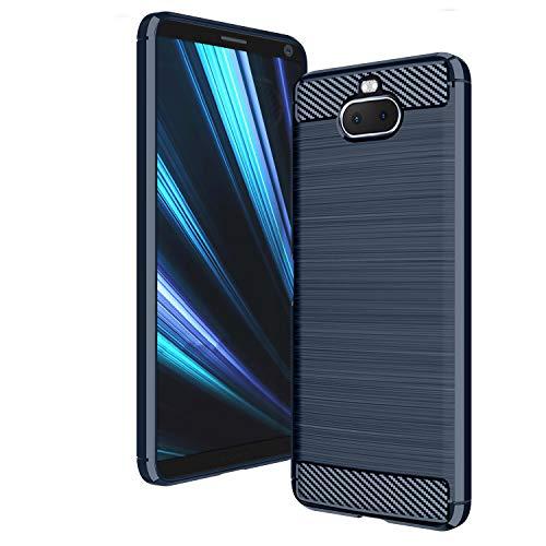 AIFIVE Sony Xperia 10 Hülle, Flexiblem TPU Silikon Hybrid Schutzhülle Kohlenstoff-Fasern Tasche Slim-Fit Case für Sony Xperia 10 (Blau)