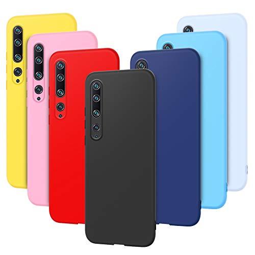 7 x Funda para Xiaomi Mi Note 10 Pro Carcasa Suave Silicona, E-Lush Funda Caso Ultra Delgado Flexible Gel TPU Goma, Carcasa Anti-Arañazos Protector Case Cover para Xiaomi Mi Note 10 Pro, Color 4