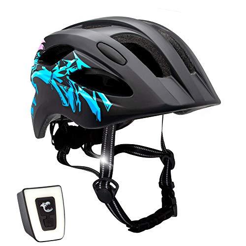 Fahrradhelm mit licht für Kinder - und Jugendliche   Größe 54-58 I Ansprechender Kinder-Fahrradhelm für Jungs und Mädchen I Aufladbares LED-Licht I Reflektierende Gurtbänder I CE Zertifiziert