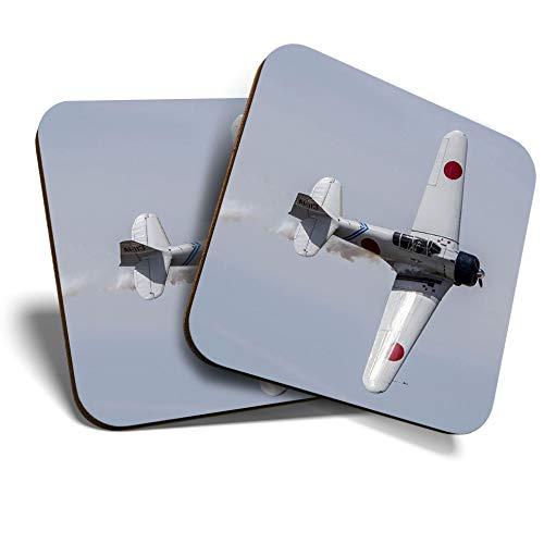 Great Coasters (Set de 2) Posavasos cuadrados/brillantes de calidad para cualquier tipo de mesa – Mitsubishi Zero Fighter Avión piloto #24467
