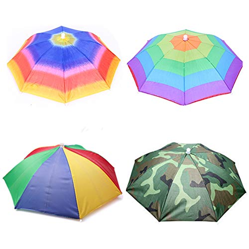 "Umbrella hat 4 Pack for Kids Adults Outdoor 20"" Multicolor Head Umbrella Cap Rainbow Fishing Hats and Folding Waterproof Hands Free Party Beach Headwear"