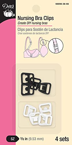 Product Image of the Dritz 56698-38-66 Bra Clips, 3/8-Inch, Black, White