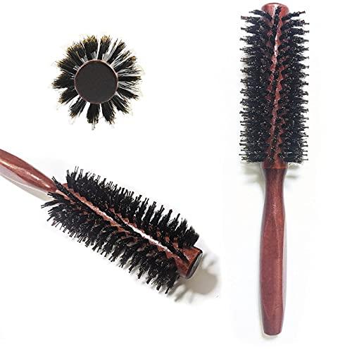 Cepillo redondo con mango de madera, cepillo de pelo para pelo rizado natural, estilo de secador, cerdas de jabalí, antiestático, grano diagonal, para hombre y mujer