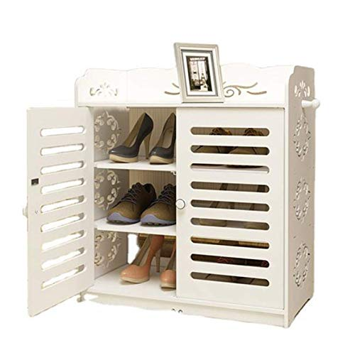 N/Z Home Equipment Portable Shoe Rack Storage Organizer Shoe Box Storage System with Doors Shoes Accessories Multi-Functional (Color : White Size : 64x32x69cm)