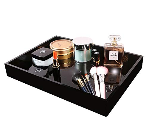 MissionMatch Waterproof Acrylic Vanity Tray Remote Control Tray Sturdy Valet Tray Organizer Nightstand or Dresser Organizer for Change Coin Key Phone Glasses Black Acrylic Bathroom Tray