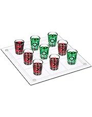 Relaxdays Tic Tac Toe dryckesspel för vuxna, 2 spelare, 9 shotglas, roligt festspel, XL, transparent