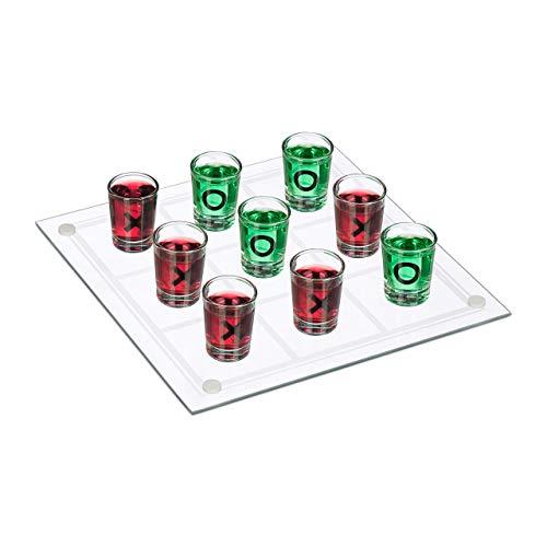 Relaxdays Tic Tac Toe Trinkspiel, für Erwachsene, 2 Personen, 9 Schnapsgläser, JGA, lustiges Partyspiel, XL, transparent