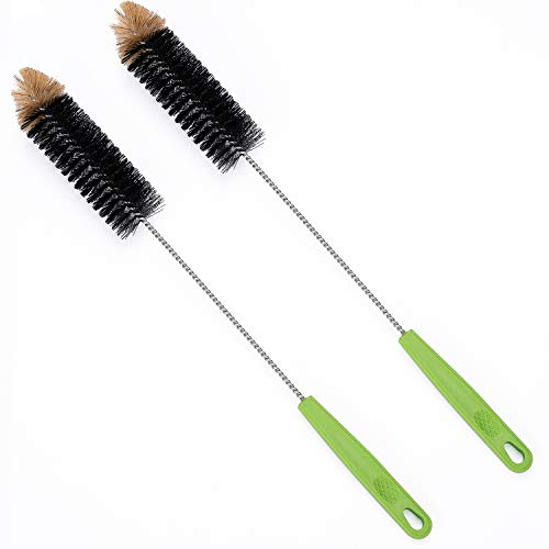 "Long Bottle Cleaning Brush 17"" Extra Long Brush for Washing Narrow Neck Beer, Wine, Kombucha, Water Bottles,Decanter, Narrow Neck Brewing Bottles, Flexible Bendable Brushes Household Cleaning (Black)"