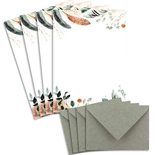 25 Briefbogen-Sets DIN A4 - Naturpapier in Creme Natur Potpourri mit Federn und Zweigen - mit Briefumschlägen DIN C6 in Kraftpapier Grau/Grün Briefpapier bedruckbar ideal für Hochzeitseinladungen