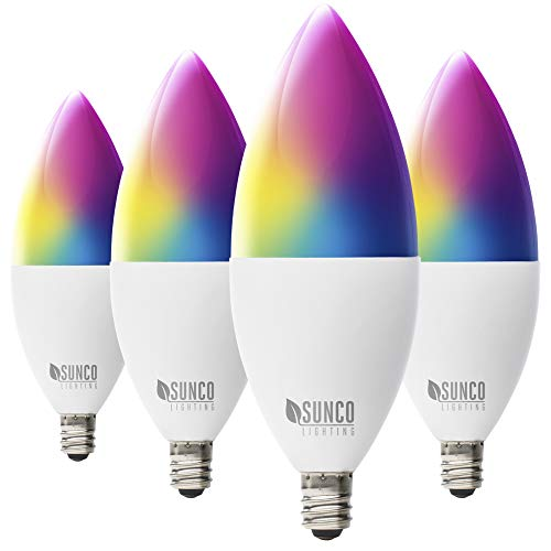 Sunco Lighting 4 Pack WiFi LED Smart Bulb, B11 Candelabra, 4.5W, E12 Base, Color Changing (RGB & CCT), Dimmable, Compatible with Amazon Alexa & Google Assistant - No Hub Required