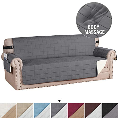 H.VERSAILTEX Sofa Slipcover Reversible Couch Cover Foam Quilted Sofa Covers for Dog Water-Repellent Furniture Protector with Side Pocket Seat Width up to 70' (Sofa, Grey/Beige)