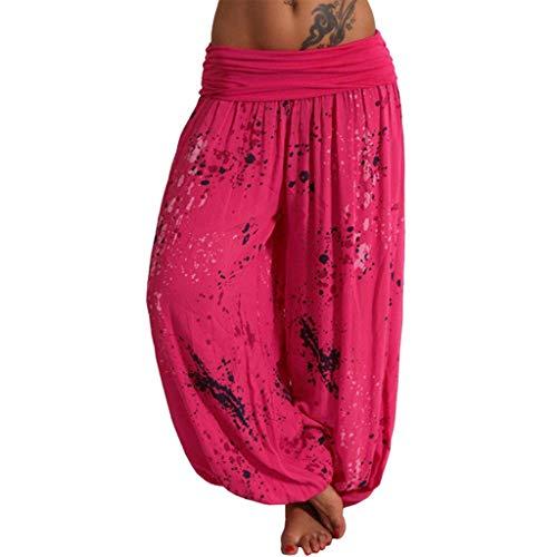 QIMANZI Hosen Lang Bedrucken Pumphose Haremshose Sommerhose Yogahose Aladinhose Baggy Harem Stil mit Elastischen Bund Strandhose Ornament-Print Baumwollhose(A Pink,3XL)