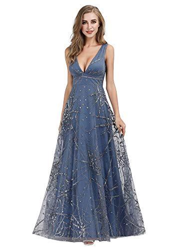 Women's Double V-Neck Cocktail Party Dress Floor-Length Evening Dress Blue US6