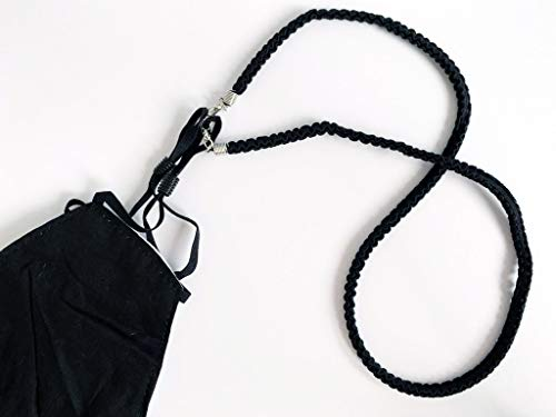 Cordón para Mascarillas - Sujeta Mascarillas para cuello - Cinta Colgador Mascarillas color Negro - Para adulto y niños