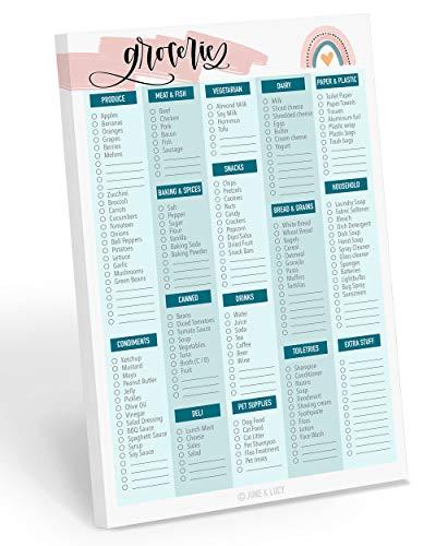Einkaufsliste Notizblock, Einkaufsliste: 60 abnehmbare Seiten für die Mahlzeitenplanung und Erstellung einer Einkaufsliste