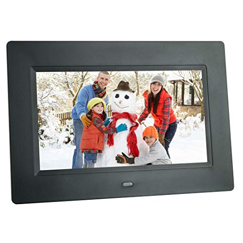 Digital Picture Frame 7 Inch Electronic Photo Frame & 1024 x 600 High Resolution IPS Widescreen Display - Calendar/Clock Function, MP3/ Photo/Video Player with Remote Control