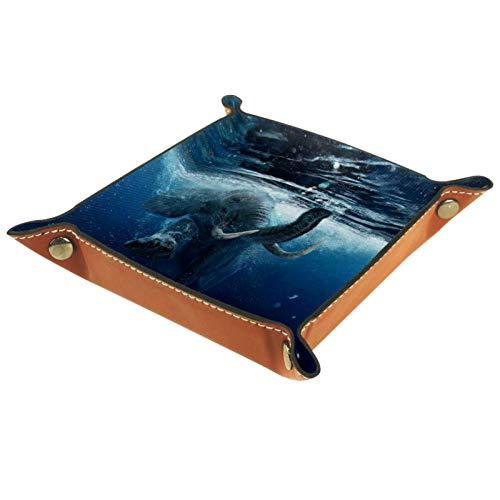 YATELI Kleine Aufbewahrungsbox,Herren-Valet-Tablett,Schwimmender afrikanischer Elefant unter Wasser,Leder Catchall Organizer für Coin Box Key Schmuck