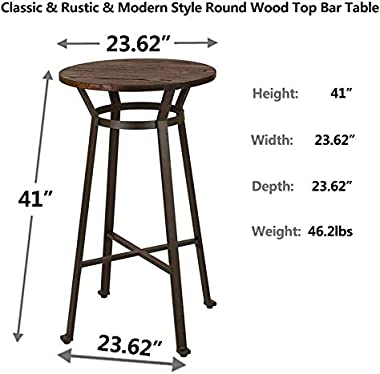 Glitzhome Rustic Steel Bar Table Round Wood Top Dining Room Pub Table Furnitur