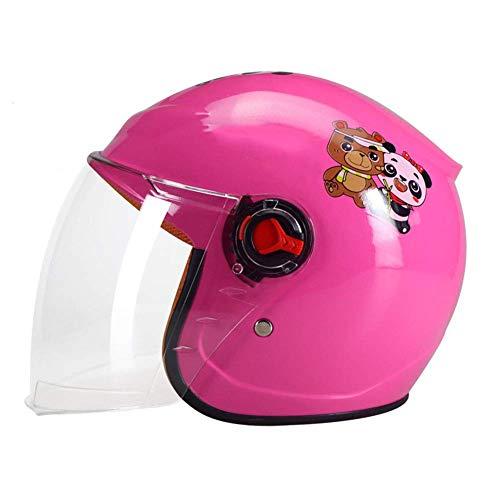 UYICTT Kind Motorradhelm, Kind Batterie Auto Helm HD-Linsen 2 Jahre- 12 Jahre alt Leichte Fahrradhelm for Kinder Cartoon Helme Multi-Sport Sicherheit Spielzeug 48-54cm GAGGE (Color : Pink)