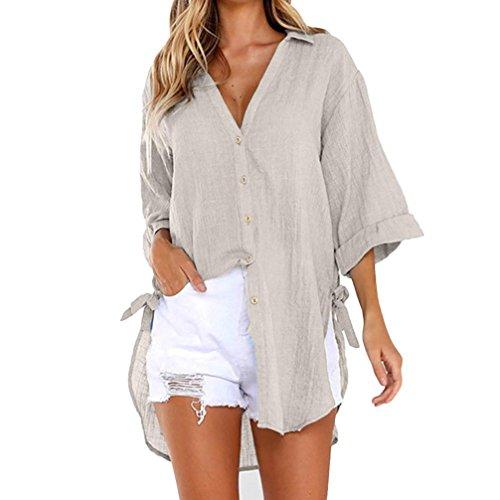 iHENGH Damen Tops, Women Fashion Lockere Taste langes Hemd Kleid Baumwolle Damen Casual Tops T-Shirt Bluse